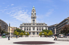Stadshusbyggnad (Camara Municipal) i Porto, Portugal Royaltyfri Bild
