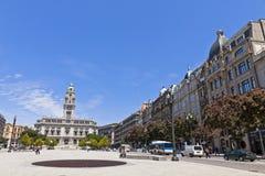 Stadshusbyggnad (Camara Municipal) i Porto, Portugal Arkivfoton