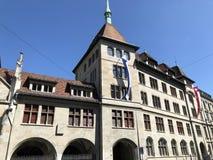 Stadshuset eller Stadthausen av Zurich fotografering för bildbyråer