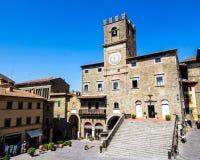 Stadshuset i Cortona, Tuscan, Italien royaltyfri fotografi