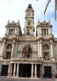 Stadshuset i Valencia, Spanien Arkivfoton