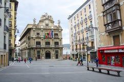 Stadshuset kvadrerar Pamplona i Spanien Royaltyfria Foton