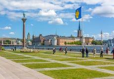 Stadshusparken nära det Stockholm stadshuset Fotografering för Bildbyråer