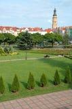 Stadshustorn och andra byggnader i Glogow, Polen Arkivbilder