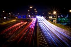 Stadshuvudväg, lång exponering Arkivfoto