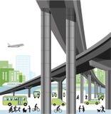 Stadshuvudväg och trafik Arkivbilder