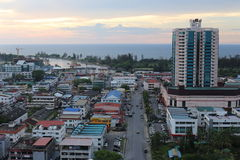 Stadsikt av Miri City, Sarawak Arkivbild