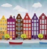 Stadsillustration (Amsterdam) Royaltyfri Fotografi