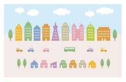 Stadsillustration, byggnader och bilar Arkivbild