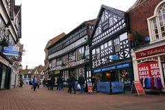 Stadskärna Nantwich, Cheshire, England Arkivbild