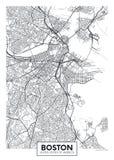Stadskaart Boston, ontwerp van de reis het vectoraffiche stock illustratie