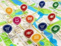 Stadskaart en spelden met pictogrammen Concept navigatie of gps Stock Foto