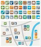 Stadskaart, kleurenpictogrammen, de dienst, de stedelijke diensten Royalty-vrije Stock Afbeeldingen