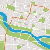 Stadskaart met een rivier Royalty-vrije Stock Fotografie