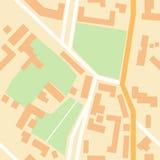 Stadskaart met groene parken, kruispunten, huis Royalty-vrije Stock Fotografie