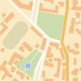 Stadskaart met groene parken, kruispunten, huizen en een stadion Stock Afbeelding