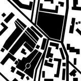 Stadskaart met parken, kruispunten, huissilhouetten - naadloze pa Royalty-vrije Stock Afbeelding
