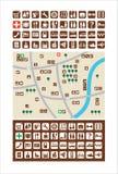 Stadskaarten, pictogrammen royalty-vrije illustratie