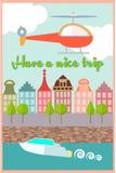 Stadskade, een Boot op de rivier, de Helikopter in de hemel Stock Foto's