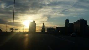 stadskansas solnedgång arkivbild