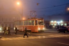 stadskielzog omhoog in mist royalty-vrije stock afbeelding