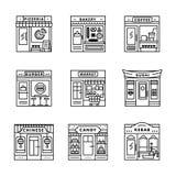 Stadskoffie, voedsel, kruidenierswinkelswinkels, opslaggebouwen vector illustratie