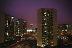 stadskrilatskoemoscow natt Arkivbild
