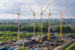 Stadslandschap: bouwwerkzaamheid Stock Afbeelding