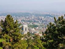 Stadslandschap met altijdgroene bomen in voorgrond op een zonnige dag royalty-vrije stock foto