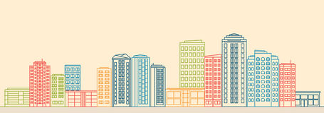 Stadslandschap met gebouwen en winkels in lijnstijl vector illustratie