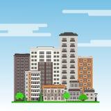 Stadslandschap met high-rise flatgebouwen en gemeentelijke gebouwen, groen bomen en gazon vector illustratie