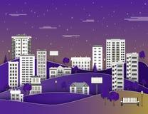 Stadslandschap in nacht met flatgebouwen en bureaugebouwen met meerdere verdiepingen, openbaar park vector illustratie