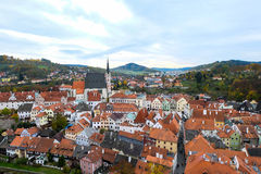 Stadslandschap van Cesky Krumlov, de werelderfenis door Unesco Royalty-vrije Stock Afbeelding