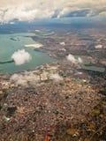 Stadslandschap van het vliegtuig  Stock Afbeeldingen
