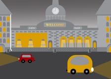 Stadslandschap in vlakke vectorstijl Duisternis met verlichting vector illustratie