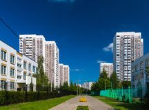 Stadslandschap in Zelenograd-district van Moskou, Rusland Stock Afbeelding