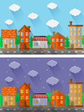 Stadslandschappen Vlak Ontwerp Stock Fotografie