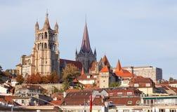 Stadslandskap av Lausanne i det västra av Schweiz Royaltyfria Foton