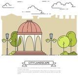 Stadslandskap med gazeboen, lampor i den Central Park linjen konst Royaltyfria Bilder