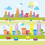 Stadslandskap med kulöra hus Arkivbild