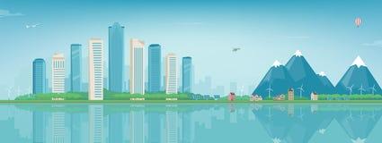 Stadslandskap och förorts- landskap Byggnadsarkitektur, cityscapestad Modern stad och förort Begreppswebsite Royaltyfri Bild