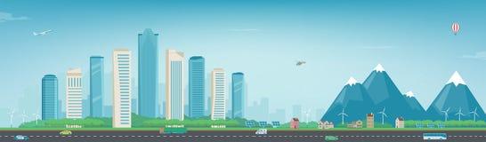 Stadslandskap och förorts- landskap Byggnadsarkitektur, cityscapestad Modern stad och förort Begreppswebsite Arkivfoto