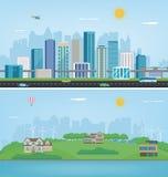 Stadslandskap och förorts- landskap Byggnadsarkitektur, cityscapestad Modern stad och förort vektor Royaltyfri Fotografi