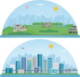 Stadslandskap och förorts- landskap Byggnadsarkitektur, cityscapestad Modern stad och förort vektor Royaltyfria Foton
