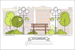 Stadslandskapet med bänken, lampor parkerar offentligt linjen konst royaltyfri illustrationer