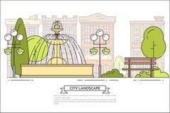 Stadslandskapet med bänken, springbrunn parkerar offentligt linjen konst royaltyfri illustrationer