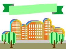 Stadslandskapet med träd i stilen av lägenheten är på en vitbac Arkivfoton