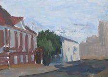 Stadslandskapet, stadsgatan, hus, olje- målarfärg skissar Arkivfoto