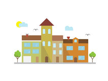 Stadslandskapillustration i linjär stil - byggnader Arkivbilder