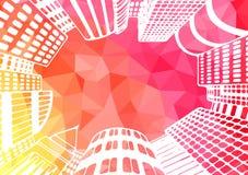 Stadslandskapillustration Kontorsbyggnader skyskrapor Royaltyfri Illustrationer